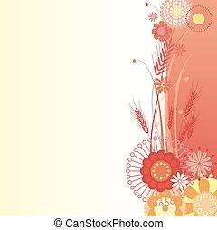 fond, rouges, floral