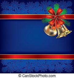 fond, rubans, handbells, cadeau, noël