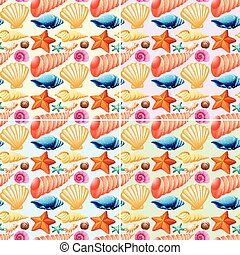 fond, seamless, etoile mer, coquilles
