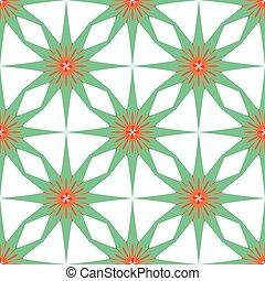 fond, seamless, modèle, vert, étoiles, géométrique, blanc