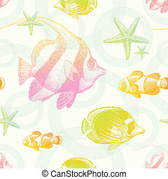 fond, seamless, poissons