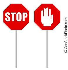 fond, signe, blanc, arrêt, signal