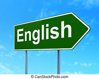 fond, signe, concept:, apprentissage, anglaise, route