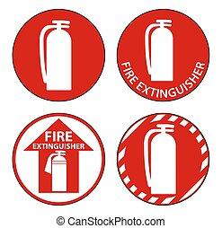 fond, signe, plancher, extincteur, blanc, brûler, symbole
