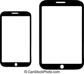fond, smartphone, blanc, vecteur