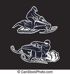 fond, snowmobiling, silhouette, noir