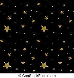 fond, sombre, noir, modèle, étoiles, or