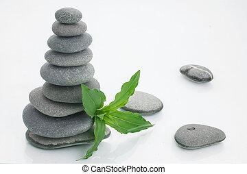 fond, spa, pierres