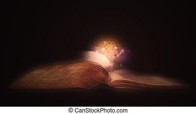 fond, sparks., sur, incandescent, noir, bible