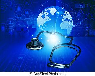 fond, stéthoscope, soin, santé