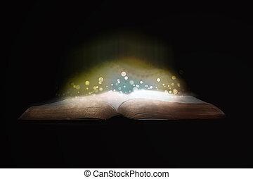 fond, sur, incandescent, noir, étincelles, bible