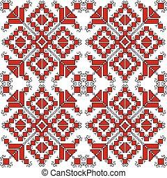 fond, sur, noir, ornements, ethnique, blanc rouge