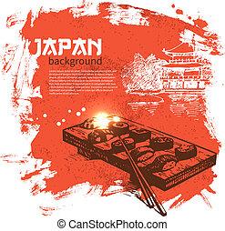 fond, sushi, vendange, main, dessiné, japonaise