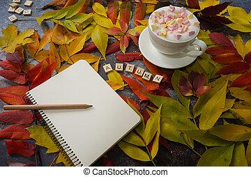 fond, table, tasse, cahier, automne, café, feuilles