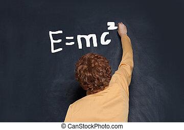 fond, tableau noir, écriture, formule, garçon, science, enfant, étudiant