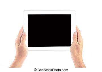 fond, tablette, écran, isolé, tenant mains, toucher, blanc, homme
