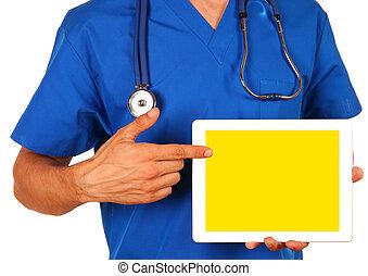 fond, tablette, docteur, vide, isolé, tenue, numérique, blanc mâle
