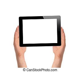 fond, tablette, gadget, isolé, informatique, tenant mains, toucher, blanc, homme