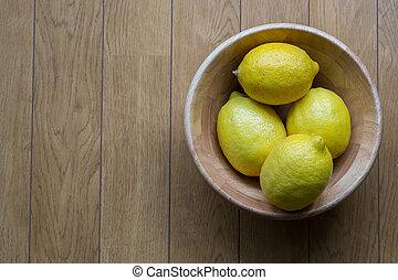fond, tasse, bois, bois, citrons, table