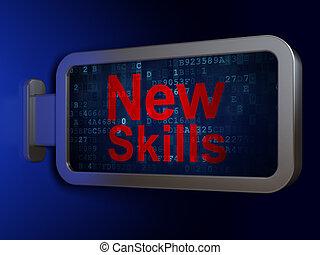 fond, techniques, apprentissage, panneau affichage, nouveau, concept: