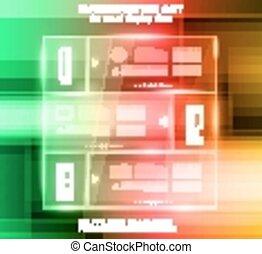 fond, technologie de pointe, infographic, disposition, panneaux, verre
