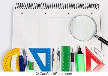 fond, texte, business., endroit, ordre du jour, bureau., fournitures
