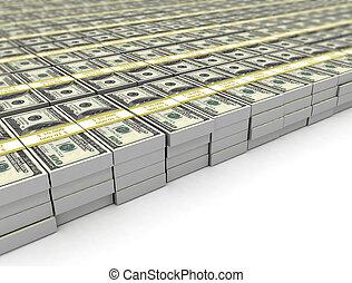 fond, texte, dollar, isolé, endroit, tas, paquets, blanc, factures, ton