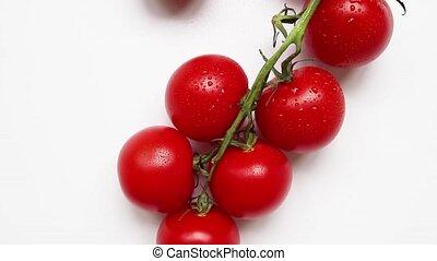 fond, tomates, frais, blanc, cru