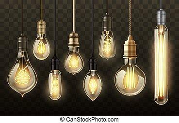 fond, transparent, ampoules, réaliste, lumière