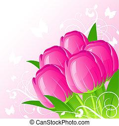 fond, tulipes