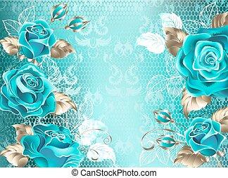 fond, turquoise, roses, dentelle