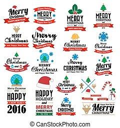 fond, typographique, joyeux, année, nouveau, noël, heureux