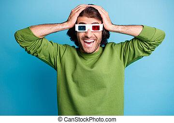 fond, usure, rigolote, tête, lunettes colorent, mains, vert, homme, isolé, photo, barbu, bleu, surpris, 3d, pull-over