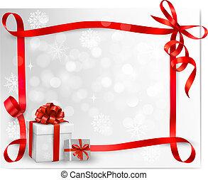 fond, vacances, cadeau, boxes., vecteur, arc, rouges, illustration.