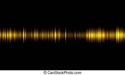 fond, vagues, lumière, son, osciller, incandescent, animation, or, noir