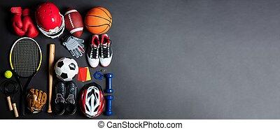 fond, variété, équipement, sports, gris