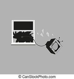 fond, vecteur, gris, fenêtre, illustration, tv, jeté, ensemble