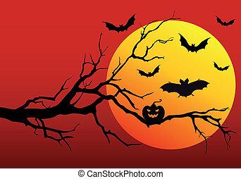 fond, vecteur, halloween
