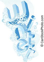 fond, vecteur, hiver