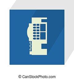fond, vecteur, illustration., shadow., bleu, icon., bâtiment, plat