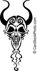 fond, vecteur, stylisé, cornes, logo, isolé, noir, illustration, objet, blanc, crâne