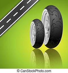 fond, vecteur, vert, motocyclette, pneu