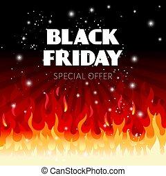 fond, vente, noir, brûler, vendredi