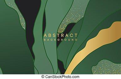 fond, vert, forme, or, résumé, scintillement
