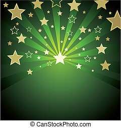 fond, vert, or, étoiles