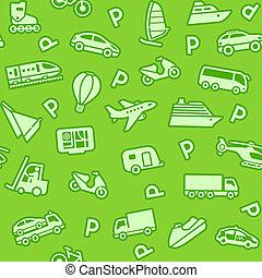 fond, vert, seamless, transport, icônes