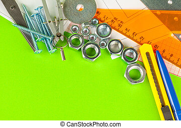 fond, vert, tools., fou, boulons, ingénierie