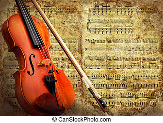 fond, violon, grunge, musical, retro