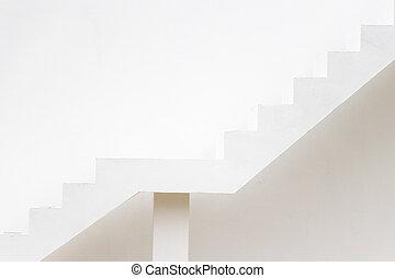 fond, viser, escalier, sentier, blanc, (concept, mur, cible, aspiration), béton, carrière