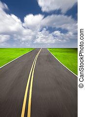fond, vitesse, route, nuageux
